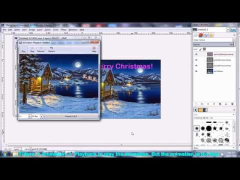How to make Christmas Animated gif Ecard using free software Gimp