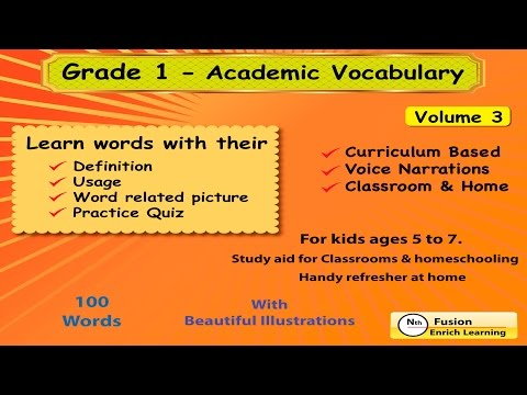 Trailer of 1st Grade Academic Vocabulary # 3 for homeschool and classroom