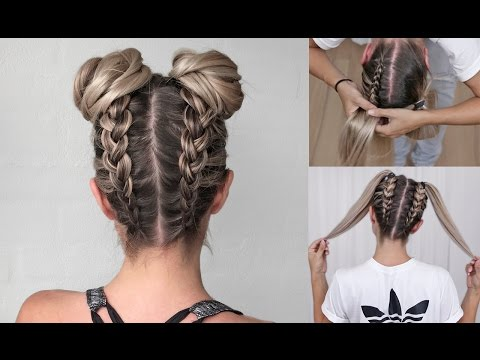 Space Buns - Double Bun - Upside down Dutch Braid into Messy Buns - DIY tutorial!