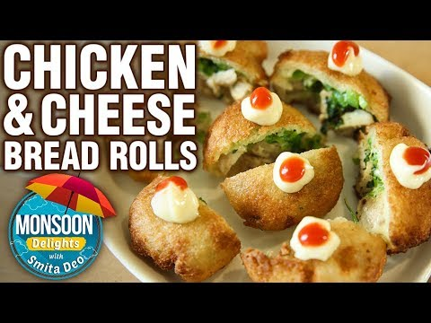 Bread Roll Recipe - How To Make Chicken & Cheese Bread Roll - Monsoon Delights - Smita Deo