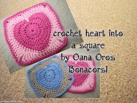crochet heart into a square