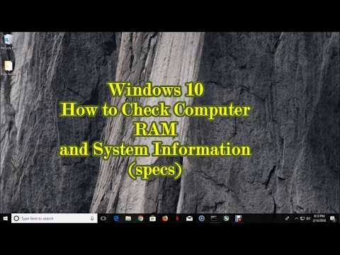 Windows 10 How to Check Computer RAM and System Information (Specs)