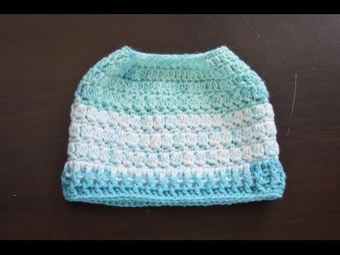 Messy bun hat/ ponytail hat (top to bottom)crochet in English