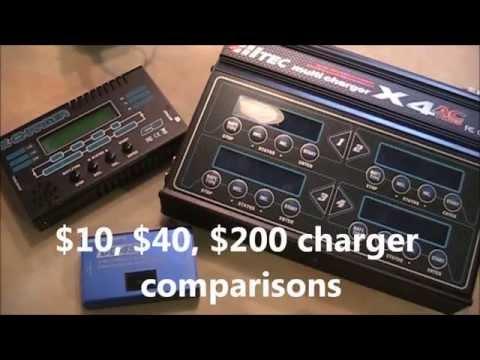 Lipo Charger Comparison, $10, $40, $200, DC-4S, X-Charger, & X4 AC Plus