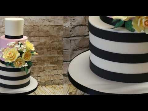 How to make horizontal stripes on a cake