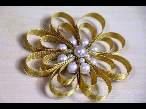 DIY Ribbon flower with beads | Folded Flower Christmas Tree Ornament