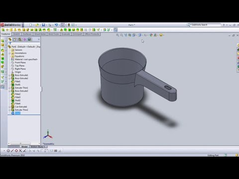 SolidWorks Tutorial: Create Handle from Offset Sketch Plane in Dipper of Water Model