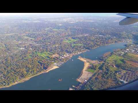 JetBlue Landing BOS to LGA over CT, Long Island, & NYC Clear Day