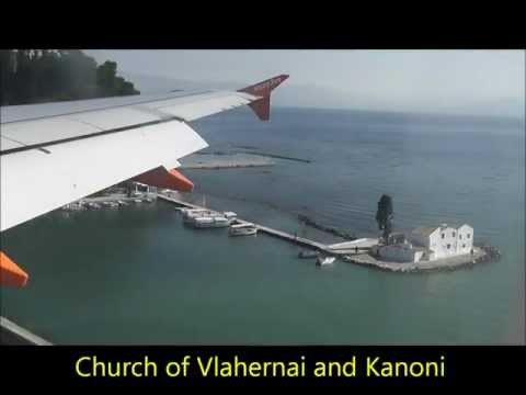 Approaching and Landing at Corfu Airport , Greece on an Easyjet flight