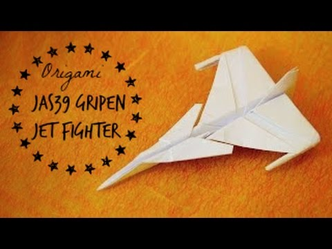 How to make an JAS 39 Gripen Jet Fighter Paper Plane (Tadashi Mori) 折り紙 ジェット