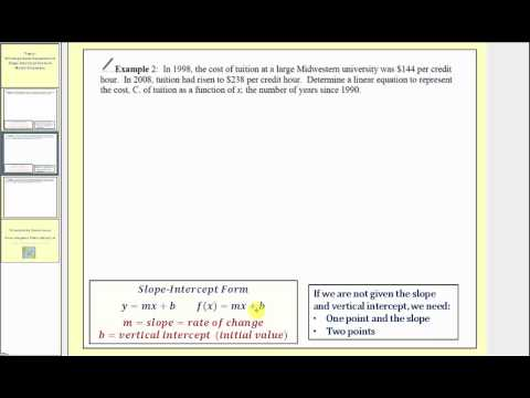 Determining Linear Equations  in Slope-Intercept Form that Model Situations (L11.3)