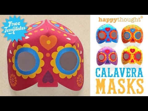 Day of the Dead Calavera mask- Step-by-step video tutorial & mask templates to download!