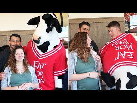 Soldier Surprises Pregnant Wife With Homecoming in Chick-fil-A Mascot Costume