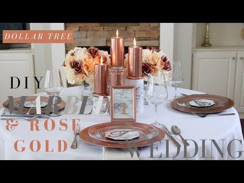 DIY MARBLE & ROSE GOLD WEDDING DECORATIONS | DOLLAR TREE WEDDING CENTERPIECE
