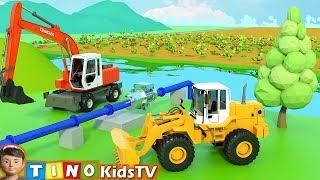Wheel Loader & Construction Trucks for Kids | Farm Water System Construction for Children