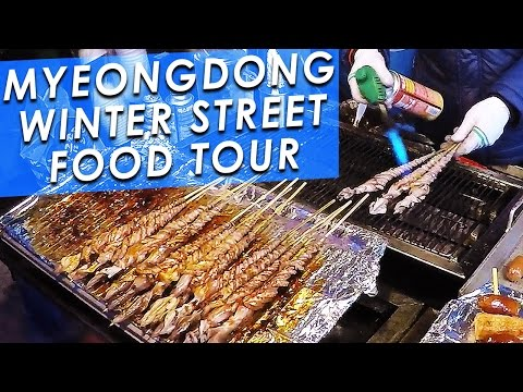 KOREAN STREET FOOD 🇰🇷: Myeongdong Winter Street Food Tour! 명동의 겨울 길거리 음식 투어