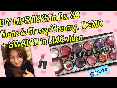 DIY (MAC) LIPSTICK (Matte & Creamy) at home in Rs.30 | DEMO + SWATCH in LIVE video |
