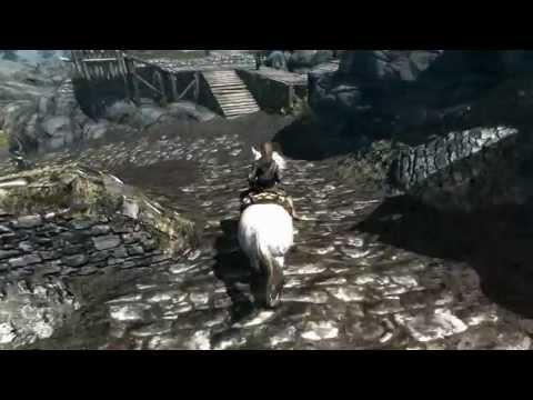 Skyrim follower Farkas riding his horse
