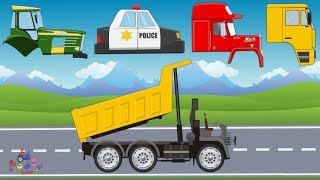 Street Vehicles   Police Car, Fire Truck, Bulldozer, Tractor   Compilation Video for Kids
