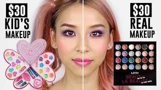 30 kids makeup vs 30 real makeup