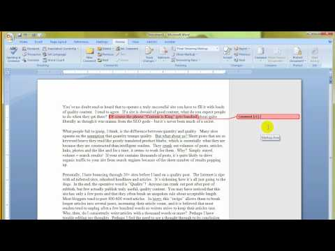 MS Word 2007 - How to use or insert comments in a document