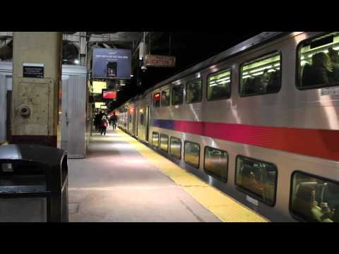 Multilevel NJT Train departing Newark-Penn Station