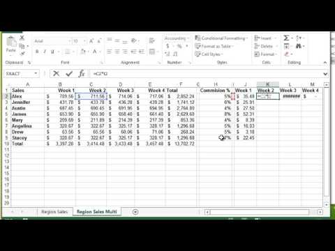 Microsoft Excel - Mixed References $A1
