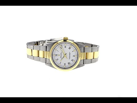 Rolex Mens Oyster Perpetual 14203M 18K SS D Serial Smooth Bezel