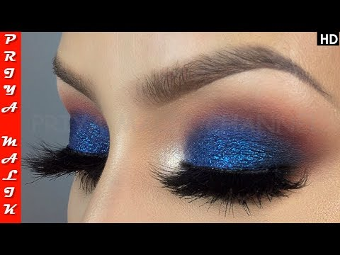 EYE  शैडो लगाने का आसान तरीका | Easy Blue Eye-shadow Makeup Tutorial for Beginners - Priya Malik