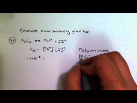 Determining Molar Solubility Given Ksp
