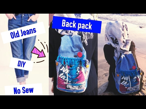 DIY- Backpack from old jeans| No Sew-Recycle