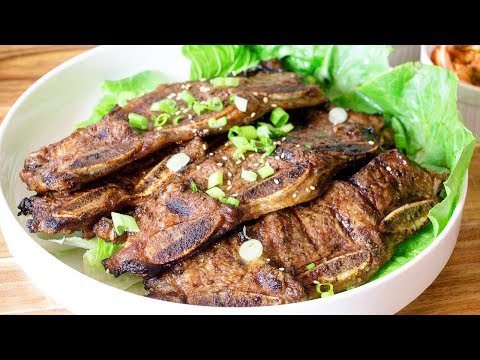Korean BBQ Short Ribs - Grilled Kalbi Korean Marinated  BBQ Ribs