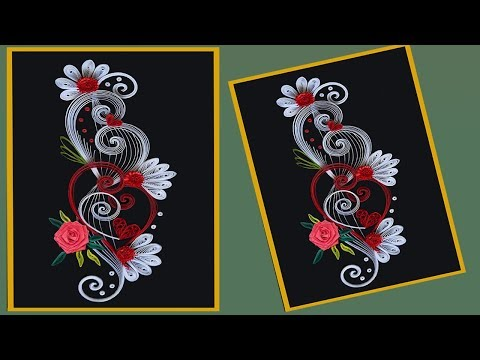 How to make Beautiful Quilling Flower Design  Greeting Card | Paper Quilling Art