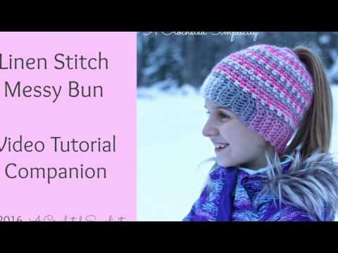 Linen Stitch Messy Bun Hat Free Crochet Pattern