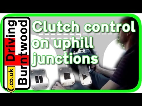Clutch control driving lesson How to drive a manual car on uphill junctions, tips