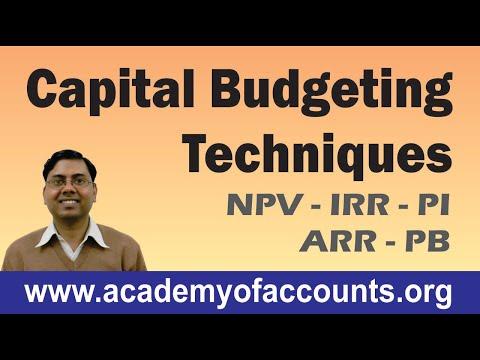 Capital Budgeting Techniques (PB, ARR, NPV, PI & IRR) ~ Financial Management for B.Com/CA/CS/CMA