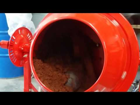 Cement mixer with shot put ball inside to mull sand