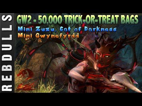 Guild Wars 2: Opening 50,000 Trick-or-Treat Bags   Mini Gywnefyrdd   Mini Zuzu, Cat of Darkness