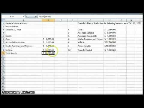 Create a simple Balance Sheet