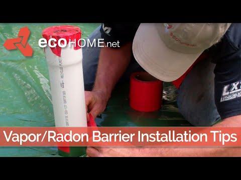 Slab floor vapour barrier and radon stack