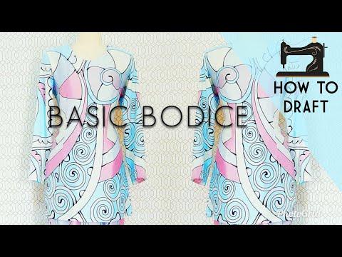How to draft basic bodice pattern | Drafting pattern for kurung modern