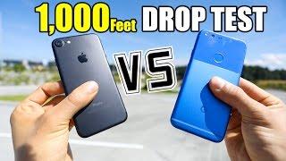 Google Pixel vs iPhone 7 - 1,000 FEET DROP TEST!!
