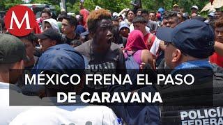 Guardia Nacional arma cerco por migrantes que intentan cruzar puente fronterizo en Chiapas