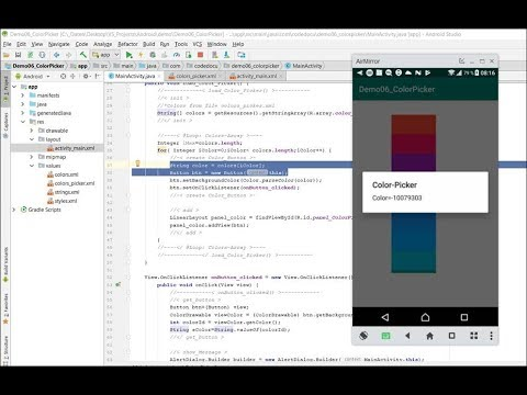 Create a Color Picker in Android. ..String Array Event Listener