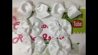 dce0a802d627 Pares de moños blancos escolares VIDEO No. 616 Creaciones Rosa Isela