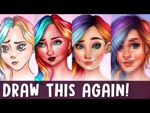 DRAW THIS AGAIN - 4 Years Later! | Girl with Rainbow Hair | Jenna Drawing
