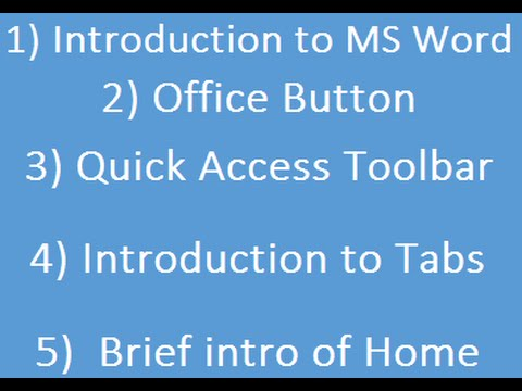 Learn MS Word Basic Skills For Beginners Part 1