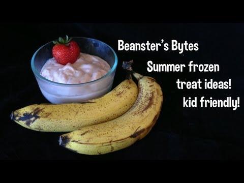 Frozen summer treat ideas! Banana ice cream, watermelon popsicles, kid friendly!