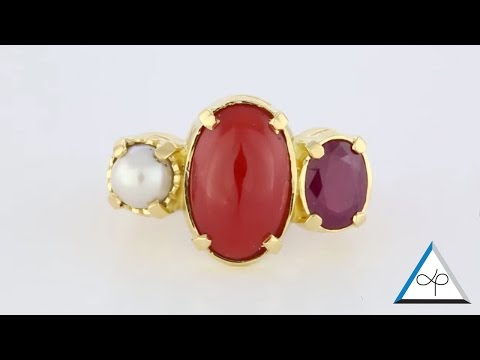 Trilogy Pearl, Coral and Ruby Ring | Prakash Gems