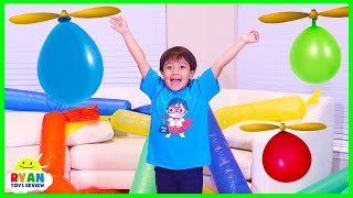Helicopter Balloon Race with Ryan ToysReview!